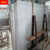 Chinese White Wooden Grain Marble Slabs
