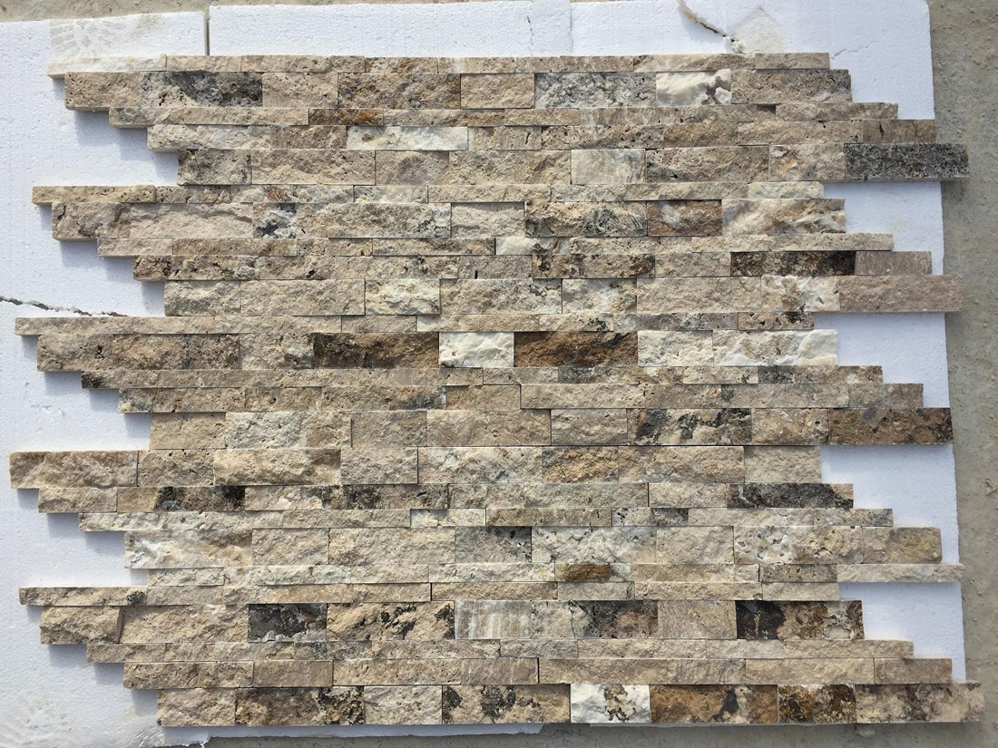 Interlocking Split Face Travertine Panels